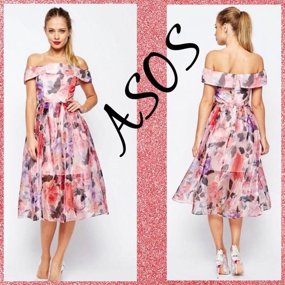 e350b77042 ASOS Petite Dresses & Skirts - ASOS PETITE SALON Floral Bardot Organza Midi